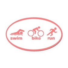 Swim Bike Run Oval Car Magnet