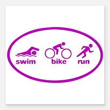 "Swim Bike Run Square Car Magnet 3"" x 3"""