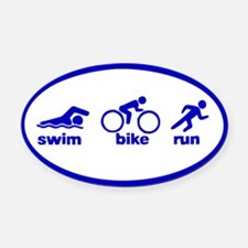 Swim Bike Run Oval Car Magnet