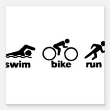 "Swim Bike Run Square Car Magnet 3"" x 3"""