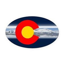 CO_Flag_Mountain.png Oval Car Magnet