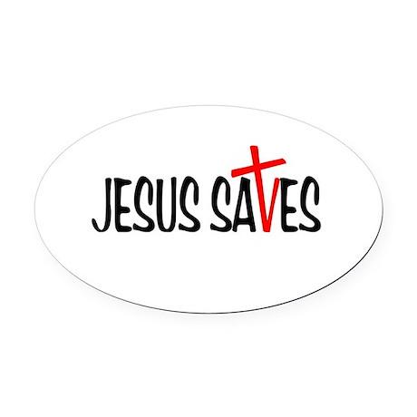 Jesus Saves Oval Car Magnet