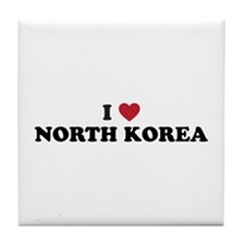 I Love North Korea Tile Coaster