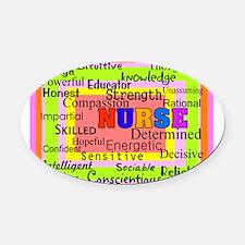 Nurse Blanket oranges.PNG Oval Car Magnet