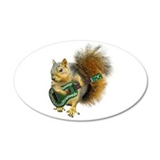 Squirrel Ukulele 35x21 Oval Wall Decal
