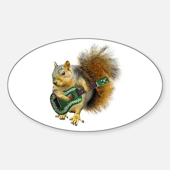 Squirrel Ukulele Sticker (Oval)