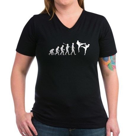 Kickboxing Women's V-Neck Dark T-Shirt
