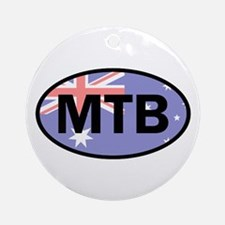 Australia Flag Mountain Biking Round Ornament