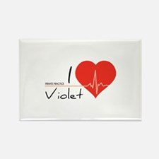 I love Violet Rectangle Magnet