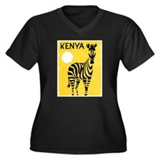 Kenya Travel Poster 1 Women's Plus Size V-Neck Dar