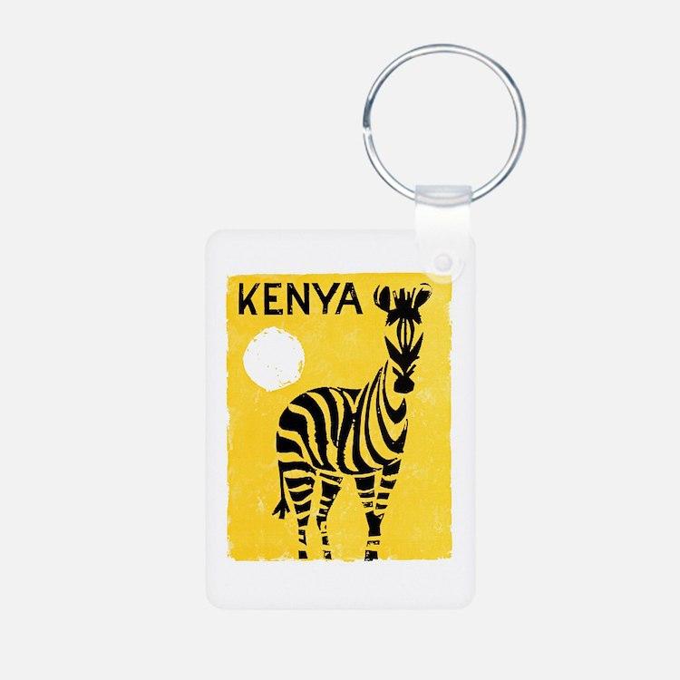 Kenya Travel Poster 1 Keychains