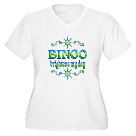 BINGO Brightens Women's Plus Size V-Neck T-Shirt
