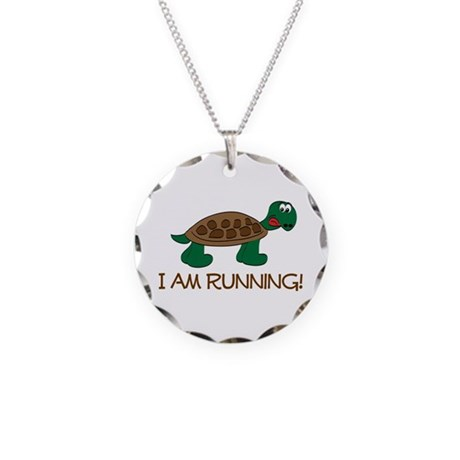 Running Tortoise Necklace Circle Charm