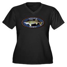 Women's Plus Size V-Neck Dark Walleye T-Shirt