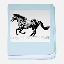 AFTM BW Horse Running baby blanket