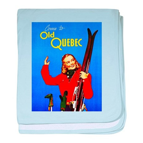 Quebec Travel Poster 1 baby blanket