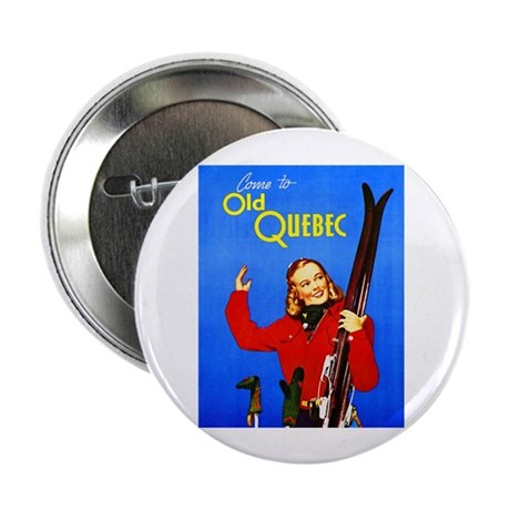 """Quebec Travel Poster 1 2.25"""" Button (10 pack)"""