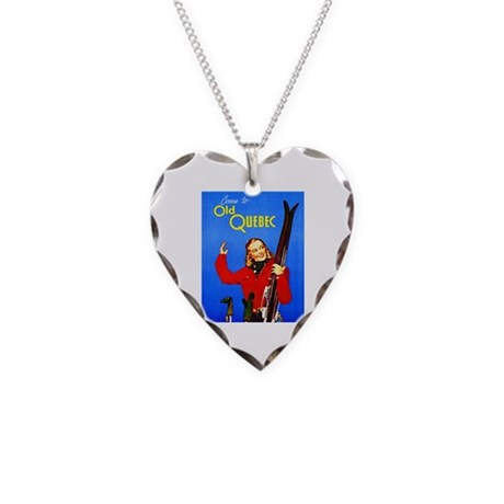 Quebec Travel Poster 1 Necklace Heart Charm