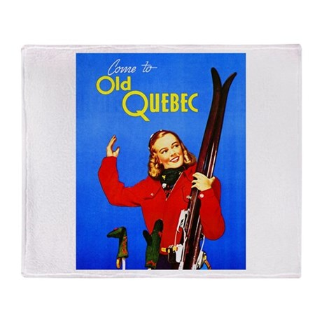 Quebec Travel Poster 1 Throw Blanket