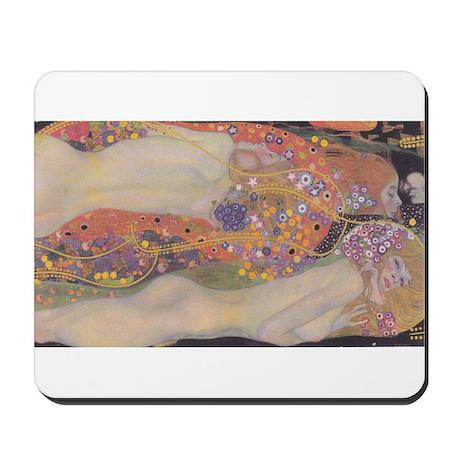 Nude Klimt Water Serpents Mousepad