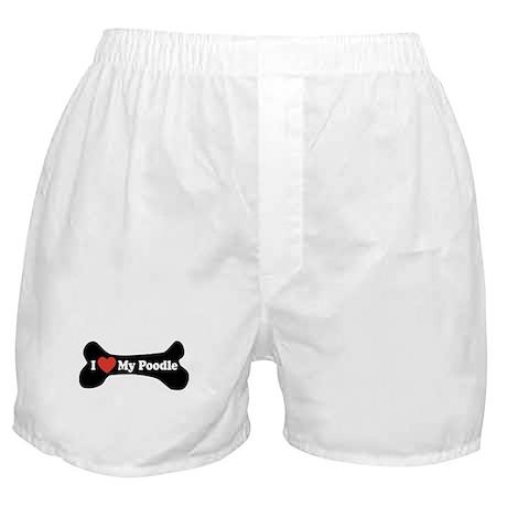 I Love My Poodle - Dog Bone Boxer Shorts