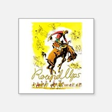 """Old West Travel Poster 1 Square Sticker 3"""" x 3"""""""