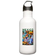 Mexico Travel Poster 3 Water Bottle