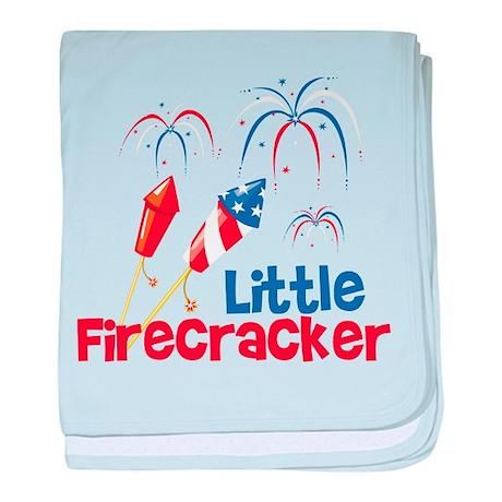 4th of July Little Firecracker baby blanket