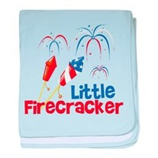 4th of July Little Firecracker baby blanket
