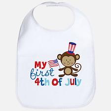 Monkey My First 4th of July Bib