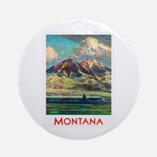 Montana Travel Poster 4 Ornament (Round)