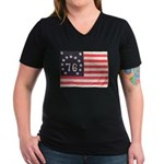 Flag of Bennington III.psd Women's V-Neck Dark T-S