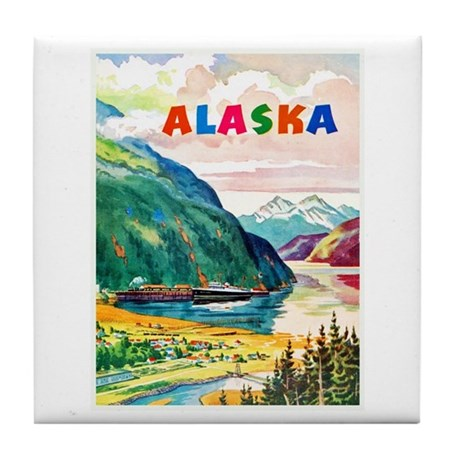 Alaska Travel Poster 2 Tile Coaster