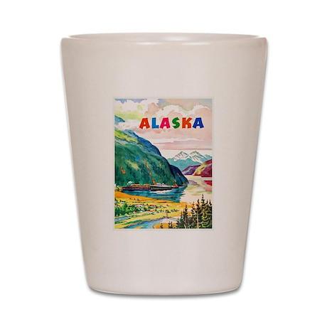 Alaska Travel Poster 2 Shot Glass