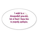 disrespectfulyarnster Sticker (Oval 50 pk)