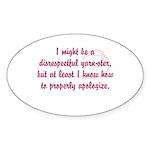 disrespectfulyarnster Sticker (Oval 10 pk)