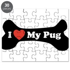 I Love My Pug - Dog Bone Puzzle