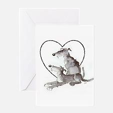 Scottish Deerhounds in Heart Greeting Card