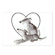 Scottish Deerhounds in Heart Postcards (Package of