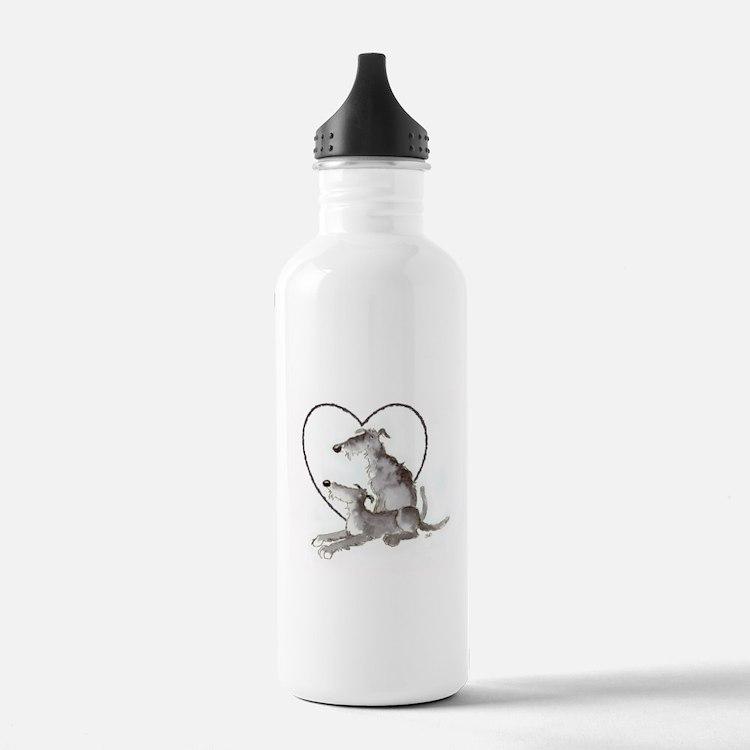 Scottish Deerhounds in Heart Water Bottle