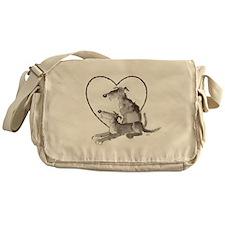 Scottish Deerhounds in Heart Messenger Bag