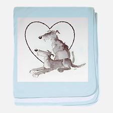 Scottish Deerhounds in Heart baby blanket