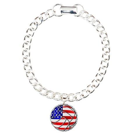 USA Volleyball Charm Bracelet, One Charm