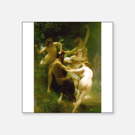 "Bouguereau - Nymphs and Satyr Square Sticker 3"" x"