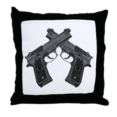 Crossed Guns Throw Pillow