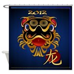 2012 Black 'n Gold Chinese Dragon F Shower Curtain
