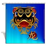 Black 'n Gold Chinese Dragon Face . Shower Curtain