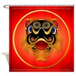 Black n Gold Chinese Dragon Face Shower Curtain