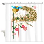 Flying Peacock And Cherry Blossoms Shower Curtain