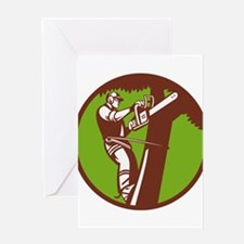 Arborist Tree Surgeon Trimmer Pruner Greeting Card